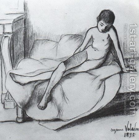 Utrillo Nude Sitting on a Couch by Suzanne Valadon - Reproduction Oil Painting
