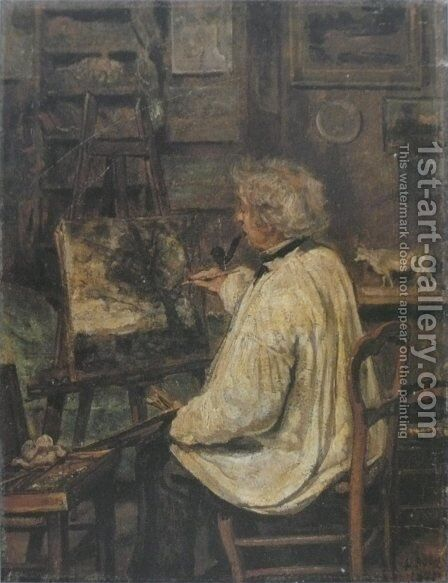 Corot Painting in the Studio of his Friend, Painter Constant Dutilleux by Jean-Baptiste-Camille Corot - Reproduction Oil Painting
