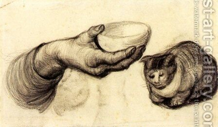 Hand with Bowl and a Cat by Vincent Van Gogh - Reproduction Oil Painting