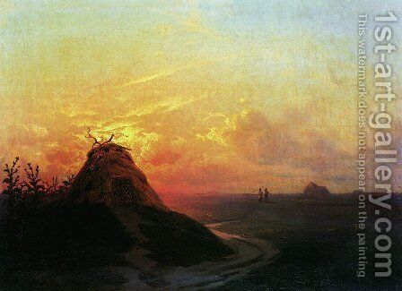 Field. Sunset by Ivan Konstantinovich Aivazovsky - Reproduction Oil Painting