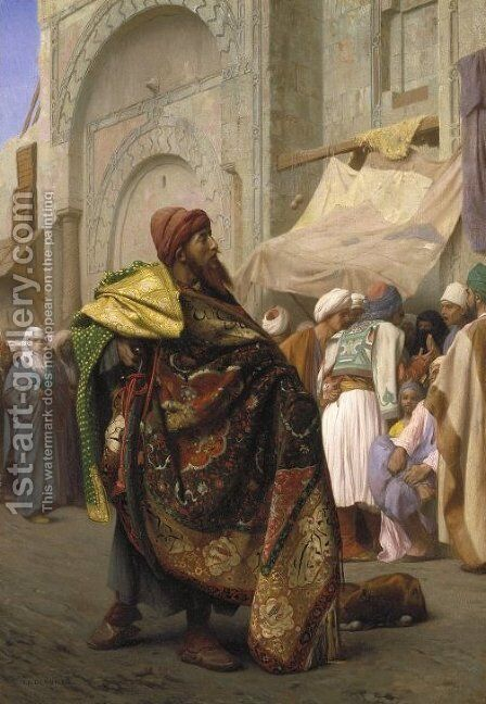 The Carpet Merchant of Cairo by Jean-Léon Gérôme - Reproduction Oil Painting