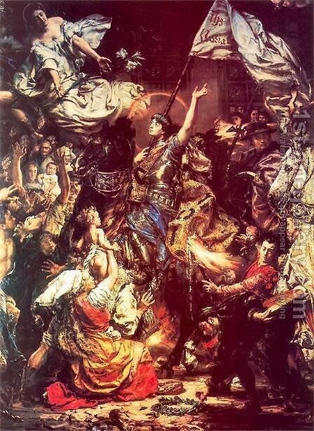 Maid of Orleans by Jan Matejko - Reproduction Oil Painting