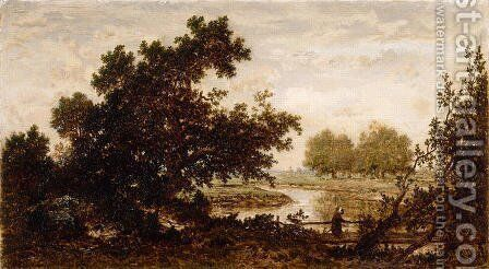 Meadows crossed by a river by Theodore Rousseau - Reproduction Oil Painting