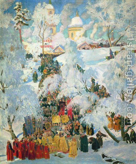 The Consecration of Water on the Theophany by Boris Kustodiev - Reproduction Oil Painting