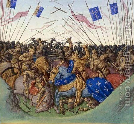 Battle of Fontenoy-en-Puisaye in 841 by Jean Fouquet - Reproduction Oil Painting