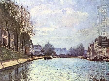 View of the Canal Saint Martin by Alfred Sisley - Reproduction Oil Painting