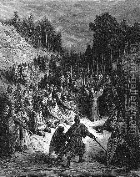 Peter the Hermit Preaching the Crusade by Gustave Dore - Reproduction Oil Painting