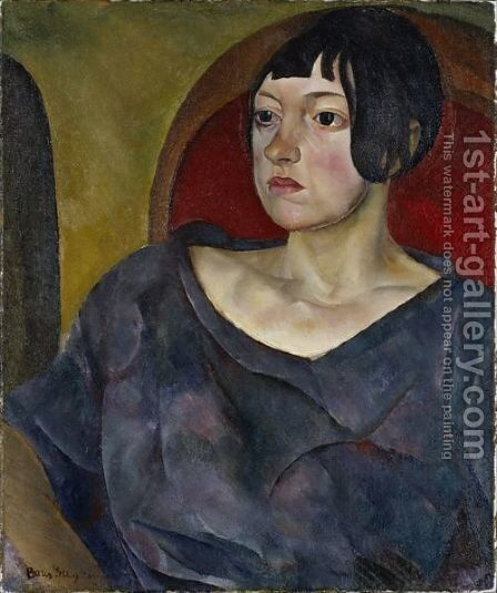 Portrait Of A Woman by Boris Dmitrievich Grigoriev - Reproduction Oil Painting