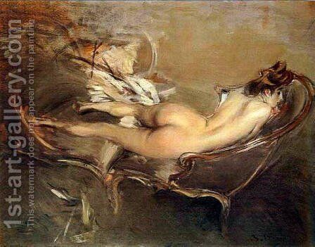 A Reclining Nude on a Day-Bed by Giovanni Boldini - Reproduction Oil Painting