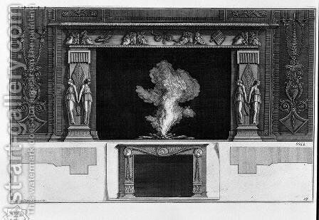 Fireplace with a frieze of masks, winged figures at the hips; other way smaller inferiorly by Giovanni Battista Piranesi - Reproduction Oil Painting