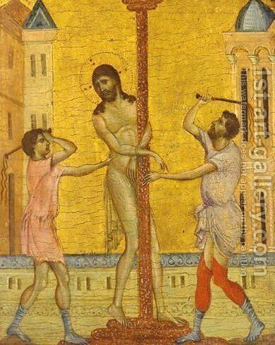 The Flagellation of Christ by (Cenni Di Peppi) Cimabue - Reproduction Oil Painting