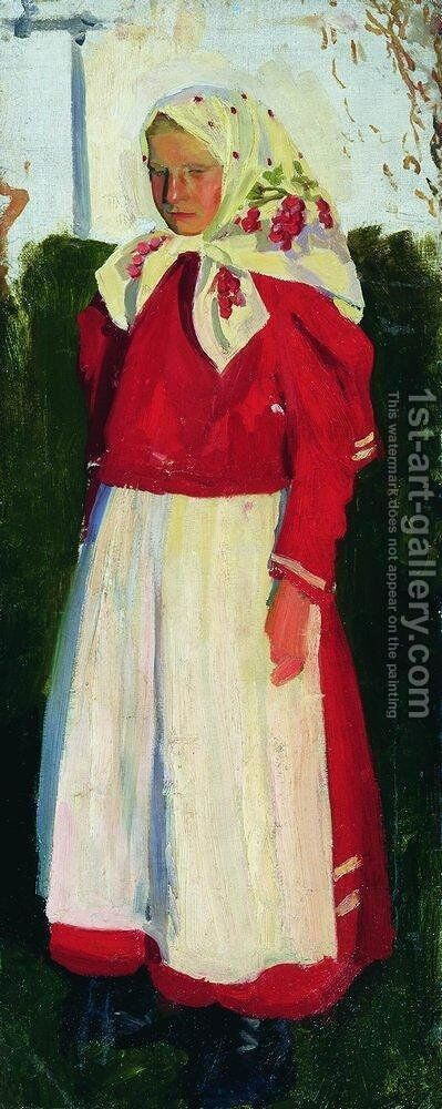Dunya in red by Boris Kustodiev - Reproduction Oil Painting