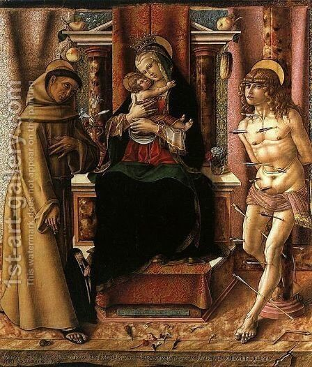 The Virgin and Child with Saints Francis and Sebastian by Carlo Crivelli - Reproduction Oil Painting