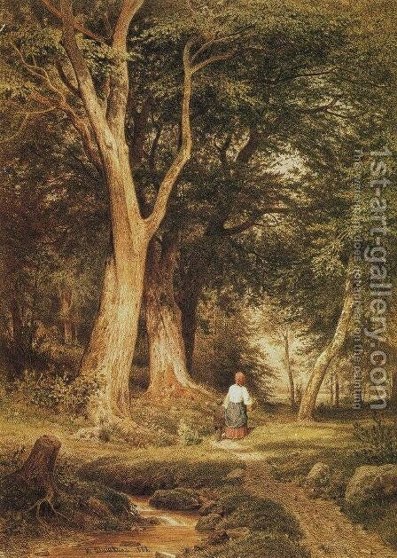 A woman with a boy in the forest by Ivan Shishkin - Reproduction Oil Painting