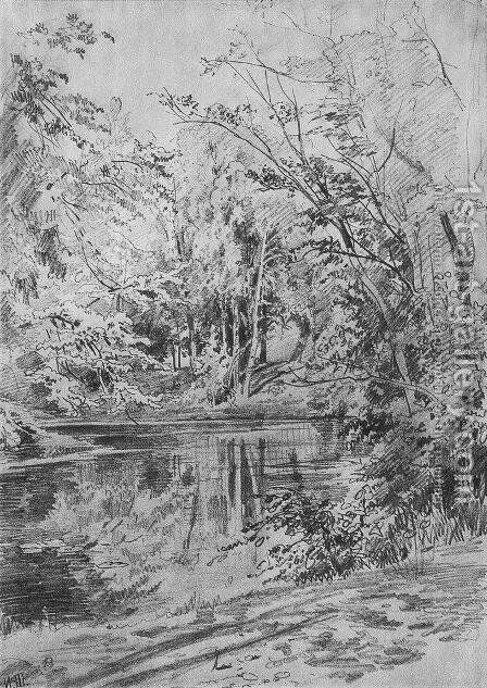 Pond 3 by Ivan Shishkin - Reproduction Oil Painting