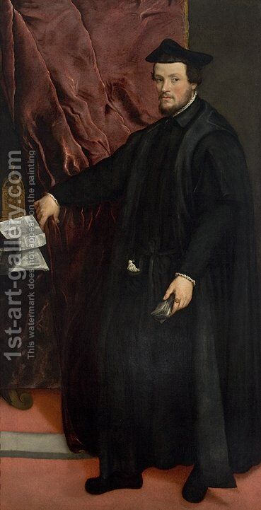 Portrait of Cardinal Cristoforo Madruzzo by Tiziano Vecellio (Titian) - Reproduction Oil Painting