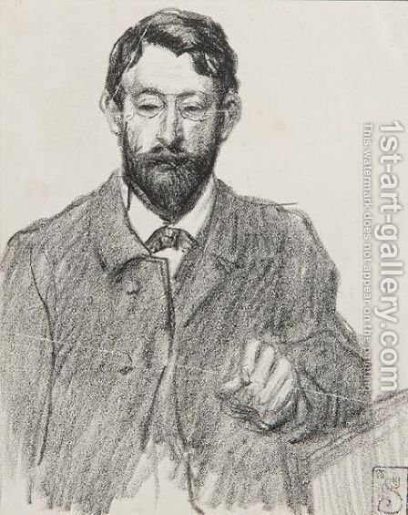Henri Riviere portrait by Theophile Alexandre Steinlen - Reproduction Oil Painting