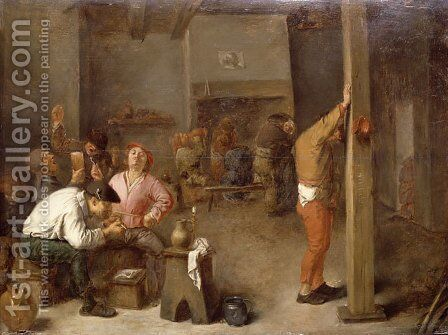 Interior of a Tavern by Adriaen Brouwer - Reproduction Oil Painting