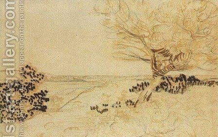 Landscape with a Tree in the Foreground 2 by Vincent Van Gogh - Reproduction Oil Painting
