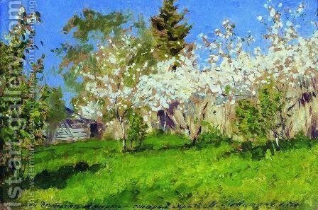 Apple trees in blossom 3 by Isaak Ilyich Levitan - Reproduction Oil Painting