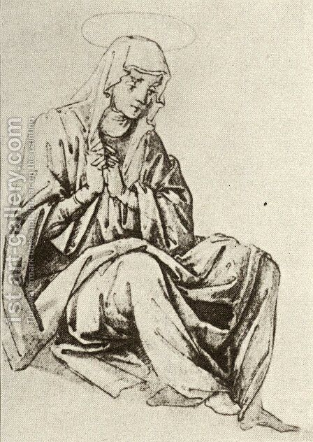 Mary seated under the Cross by Andrea Del Castagno - Reproduction Oil Painting