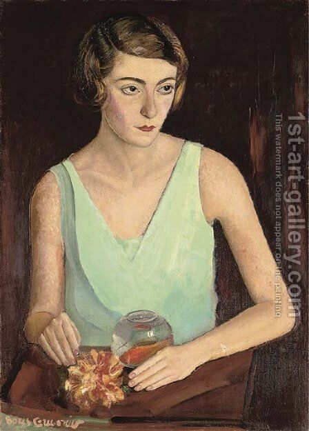 Woman in green dress by Boris Dmitrievich Grigoriev - Reproduction Oil Painting