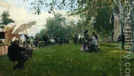 On the academic cottage by Ilya Efimovich Efimovich Repin - Reproduction Oil Painting