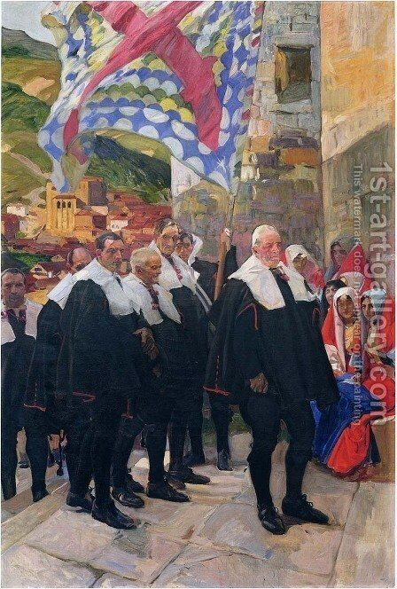 Navarre, the Town Council of Roncal by Joaquin Sorolla y Bastida - Reproduction Oil Painting