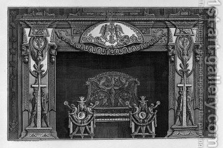 Fireplace trophies with sphinxes in the sides, to which the lower two figures are set against Egypt, in the interior, full wing by Giovanni Battista Piranesi - Reproduction Oil Painting