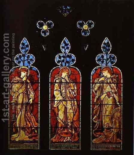 Three Trumpeting Angels by Sir Edward Coley Burne-Jones - Reproduction Oil Painting