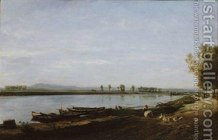 The Seine in Bezons, Val d'Oise by Charles-Francois Daubigny - Reproduction Oil Painting