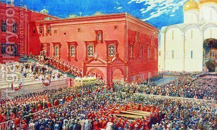 A bow with a red porch. Illustration for the coronation album by Andrei Petrovich Ryabushkin - Reproduction Oil Painting