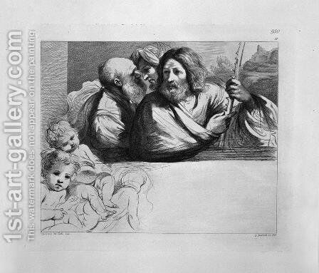 Andrew and two other Apostles, half-length, three cupids corner sketched by Guercino by Giovanni Battista Piranesi - Reproduction Oil Painting