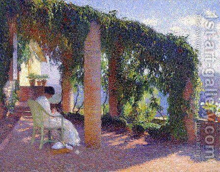 Woman Sewing on a Veranda by Henri Martin - Reproduction Oil Painting