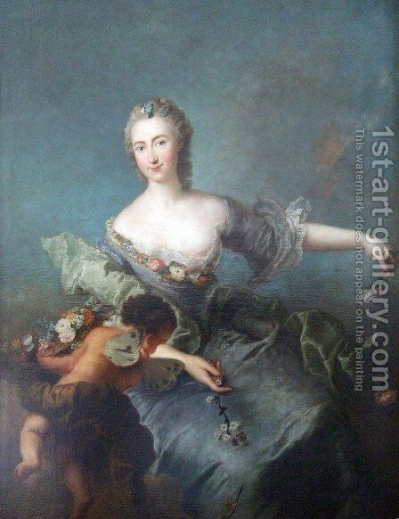Portrait of Louise Albertine von Grappendorf as Flora by Antoine Pesne - Reproduction Oil Painting