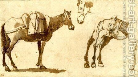 Drawing of mules, including one full length by Claude Lorrain (Gellee) - Reproduction Oil Painting