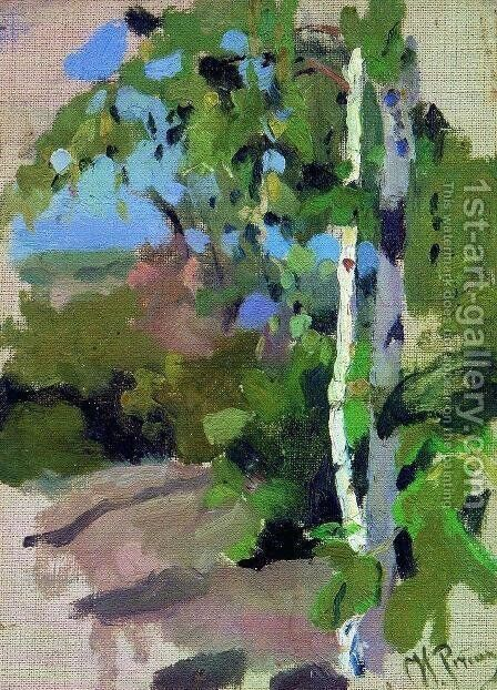 Birch trees. Sunny day. by Ilya Efimovich Efimovich Repin - Reproduction Oil Painting