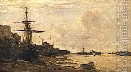 The Themse in Erith by Charles-Francois Daubigny - Reproduction Oil Painting