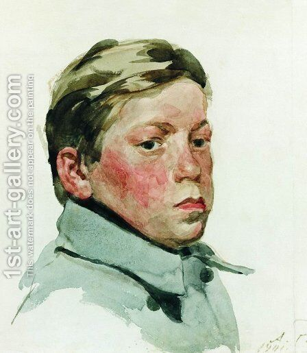 Head of Boy by Andrei Petrovich Ryabushkin - Reproduction Oil Painting