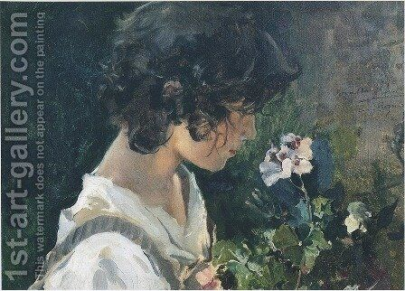 Italian Girl with Flowers by Joaquin Sorolla y Bastida - Reproduction Oil Painting