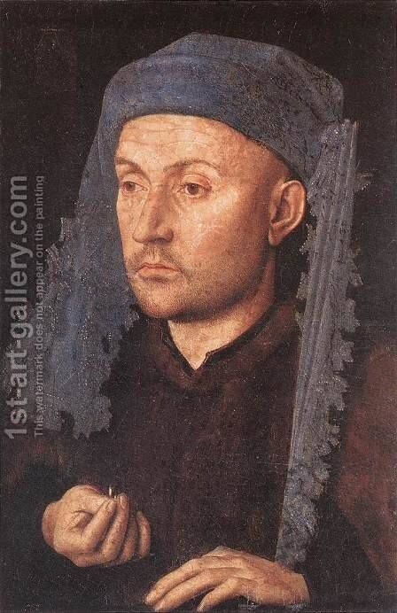 Man in a Blue Turban by Jan Van Eyck - Reproduction Oil Painting