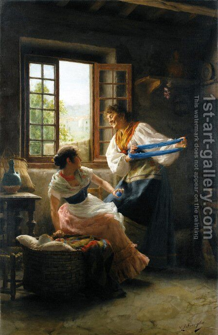 The Wool Winders by Giovanni Battista Torriglia - Reproduction Oil Painting