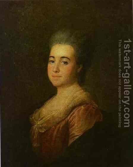 Portrait of an Unknown Lady in a Pink Dress by Dmitry Levitsky - Reproduction Oil Painting