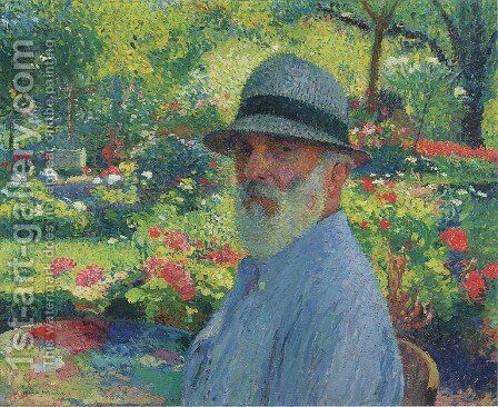 Self Portrait in the Garden by Henri Martin - Reproduction Oil Painting