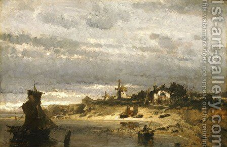 Village on a Dutch Coast by Constantinos Volanakis - Reproduction Oil Painting