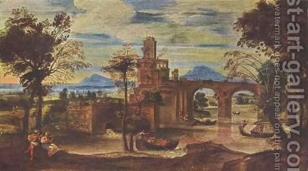 Romische Landschaft by Annibale Carracci - Reproduction Oil Painting
