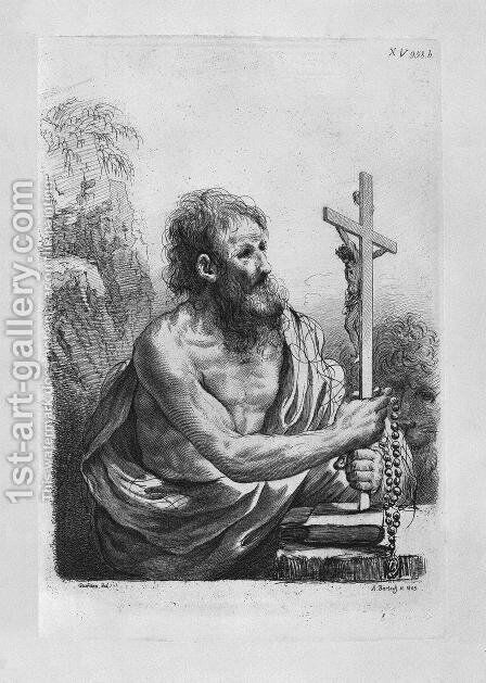 St. Jerome in the act of contemplating the crucifix, by Guercino by Giovanni Battista Piranesi - Reproduction Oil Painting