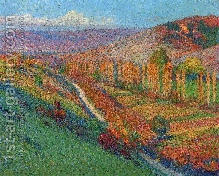Green Valley with Stream by Henri Martin - Reproduction Oil Painting