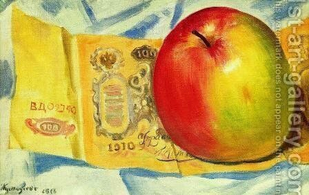 Apple and the hundred-ruble note by Boris Kustodiev - Reproduction Oil Painting