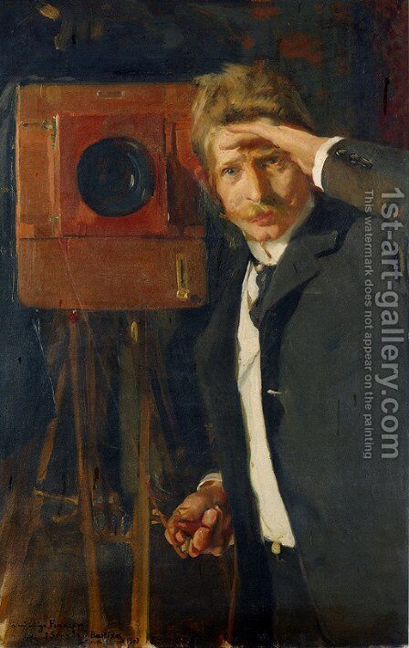 Portrait of photographer, Christian Franzen by Joaquin Sorolla y Bastida - Reproduction Oil Painting
